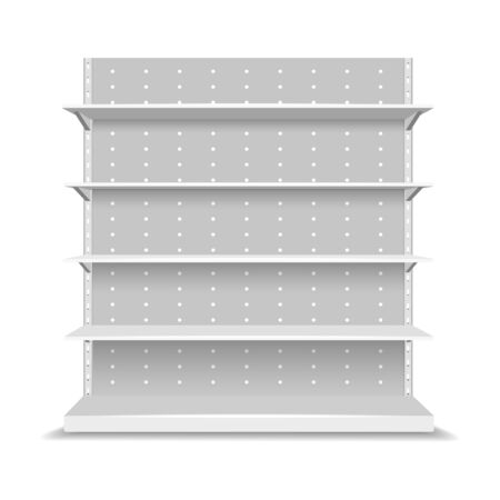 Empty store shelves. 3d supermarket shelf set for marketing and branding vector illustration, blank front retail expo showcase image mockups for products shopping