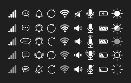 Mobile phone interface vector icons. Phone sound and silent, signal and security, charge and wifi icon for display, bell shake battery and connected smartphone indicators