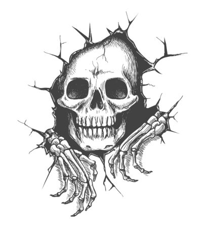 Skull with hands. Skeleton death in hole, evil handsand face vector illustration for tattoo or scary halloween image