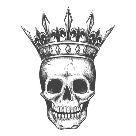 Skull in crown sketch. Demon king tattoo illustration, death head with crown vector illustrated, hand drawn black doom engraving image