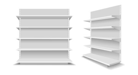 Empty showcase racks. Advertising blank supermarket shelves, shopping mall empty retail products showcases, white display shop shelf set vector illustration Illustration