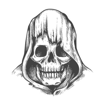 Hood skull. Dead head in cowl, evil skeleton face hand drawn vector illustration, hooded demon tattoo or dark criminal man