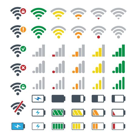 Phone gadgets battery and signal symbols. Mobile network, batterie signs, wireless wifi, energy icons, connection devices or smartphones system status bar vector icon set