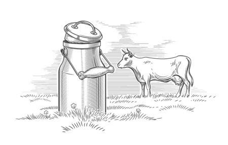 Milk can and cow engraving. Dairy producing summer drawing, milking alpine farm nature vintage sketch vector illustration Archivio Fotografico - 130023582