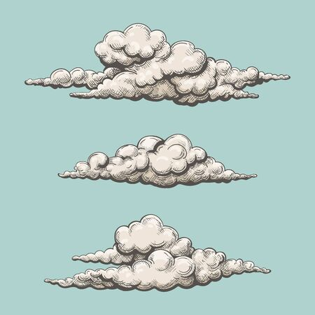 Color clouds old graphics. Vintage painted swirling cloud vector set sketch for heaven sky or spring atmosphere etching illustrations Çizim