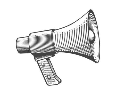 Vintage loudspeaker. Loudspeakers engraving for public announcements, doodle advertising bullhorn, sound communication amplifier, megaphone sketch for messages, vector illustration  イラスト・ベクター素材