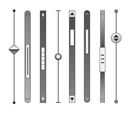 Scrollbars. Website ui rollover bar set, computer design scrolling elements, decorative scrolls templates for web and ux, vector illustration Ilustrace