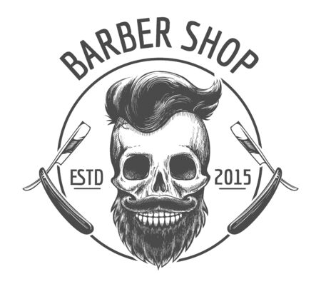 Skulls barber shop   Bearded skeleton skulls face with engraving mustache, dapper hairstyle and razors black barbershop emblem, vector illustration
