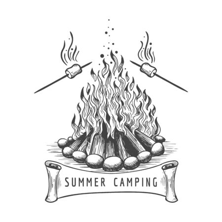 Marshmallow roasting. Marshmallows roast on campfire vector sketch, bonfire camping with frying sweet food hand drawn image Illustration
