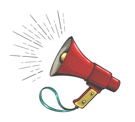 Protest megaphone vector icon. Vintage colour loudspeaker hand drawn illustration, bullhorn sketch for manifestation broadcasting concepts