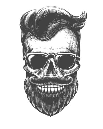 Bearded skull face tattooed. Skeleton head with mustache, beard and sunglasses black vector illustration 일러스트