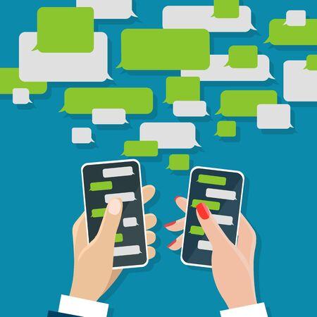 Concetto di chat. chat di messaggistica su schermi mobili in mani maschili e femminili, dialoghi di messaggi di chat cellulari con illustrazione vettoriale di caselle di chat di testo Vettoriali