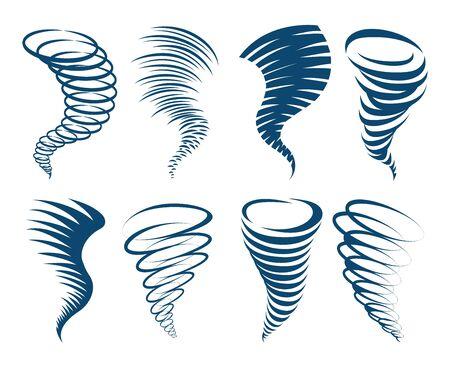 Iconos de torbellino. Torbellinos ilustrados de señales de tormenta o tifón, torbellinos abstractos o imágenes vectoriales de tornados, conjunto de iconos de clima de huracán de torbellino, embudo giratorio y símbolos de vórtice