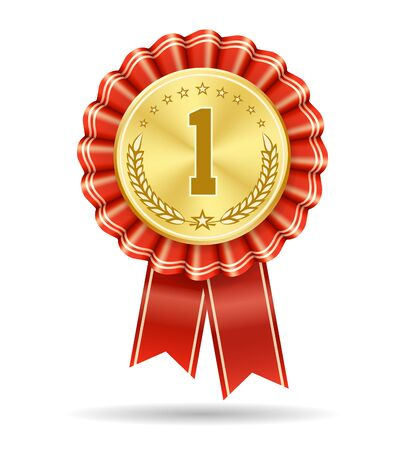 Winner gold medal badge. No 1 vector sign isolated on white, first place medallic symbol, win product number one honor ribbon design, success trophy or leadership achievement seal Banco de Imagens - 132166120