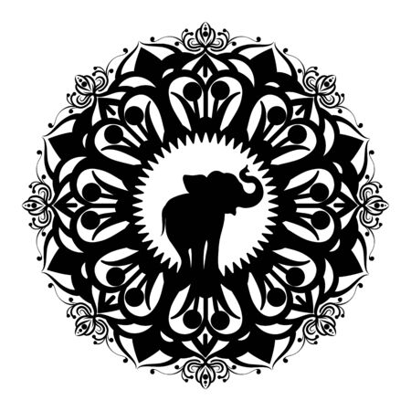 Mandala with elephant. Laser cut out mandala pattern silhouette with indian design, beautiful tradition animal and floral ornate vector round illustration graphics