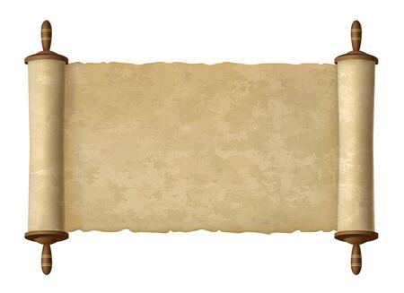 Antike Papyrusrolle. Vektorpapierrolle für Altersweisheitsvektorillustration, altes Kartendesign des traditionellen alten Textes für jüdischen Torahhintergrund Vektorgrafik