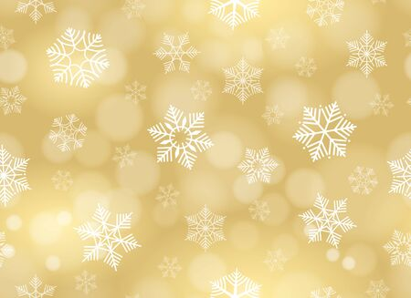 Yellow gold snowflakes christmas background. Holiday snowflake blurry seamless pattern on golden background, vector christmas colourful winter wallpaper