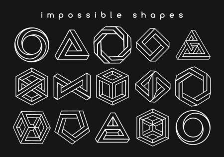 Ilusiones ópticas de formas geométricas. Símbolos geométricos de ilusión, arte creativo imposible como triángulo infinito y cubo de rompecabezas, ilustración de vector de geometría de paradoja