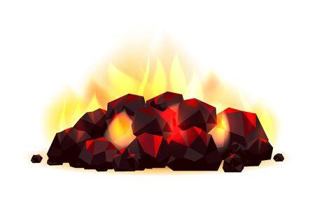 Tas de charbon incandescent. Charbons combustibles fossiles avec illustration vectorielle de flamme, combustion de charbon brûlant isolé sur fond blanc Vecteurs
