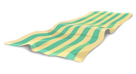 Summer beach litter. Vector beach towel colourful illustration, blanket or carpet sea relax isolated on white background