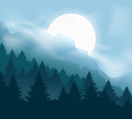 Pines mountains with mist. Calming forest landscape with blue moon light and fog, outdoor camp cliff vector graphic, misty trees and foggy hills panoramic horizon