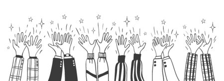 Aplausos de Doodle. Dibujos animados dibujados a mano multitud aplaudiendo ilustración vectorial, esbozó vítores grupales para la elección, celebrando conceptos de fiesta y trabajo en equipo