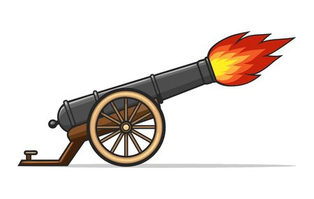 Old cannon firing. Shooting vintage canon gun, vector ancient weapon explosion, antique military symbol vector illustration isolated on white background