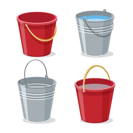 Full and empty gardening buckets. Pailful or bucket with water vector illustration, filled steel metal and pumped plastic pails isolated on white background