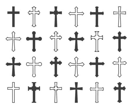 Outline christian crosses. Vector outline and black christian cross collection, decorative crucifix icons isolated on white background Ilustração