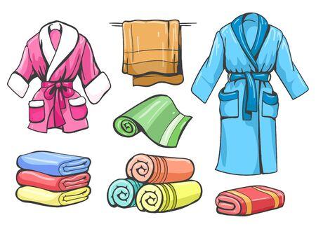 Serviettes et peignoirs. Peignoir et serviette de bain set vector croquis de couleur pour spa isolé sur fond blanc Vecteurs
