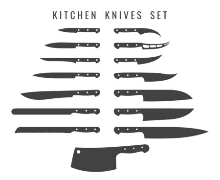 Chef butcher knifes. Cooking knife set silhouettes, butchers kitchen metalic knives steel utensils, stainless tools types, vector illustration Illusztráció