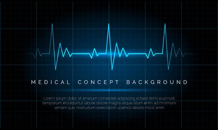 Emergency ekg monitoring. Electric heartbeat oscilloscope monitor signal blue vector illustration, cardiac patient life heart rate concept