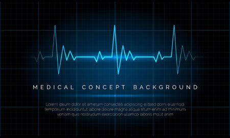 Monitoreo de emergencia de electrocardiograma. Ilustración de vector azul de señal de monitor de osciloscopio de latido eléctrico, concepto de frecuencia cardíaca de la vida del paciente cardíaco