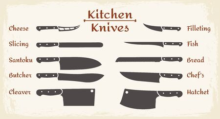 Cooking knifes types. Restaurant or cafe kitchen slicing knives, chefs stainless knife set for fish and cheese, bread and meat vector silhouettes