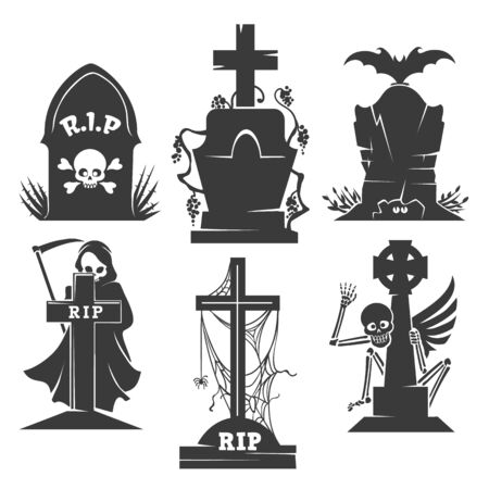 Headstones death symbols. Vector evil creepy scenery icons, bat and skeleton, grim Reaper or scytheman horror graveyard elements isolated on white background