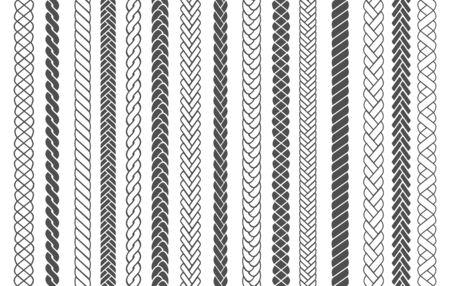 Tresses textiles. Modèles de mode tressés et tressés illustration vectorielle pour brosses, fils tressés noirs ou cordes à tricoter images conceptions sans couture pour la décoration d'ornements en tissu Vecteurs