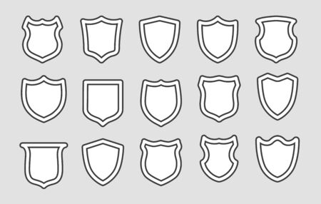Shields outline badges. Medieval arm guard shield line icons, white coat of arms shapes, security or heraldic emblems elements vector illustration Иллюстрация