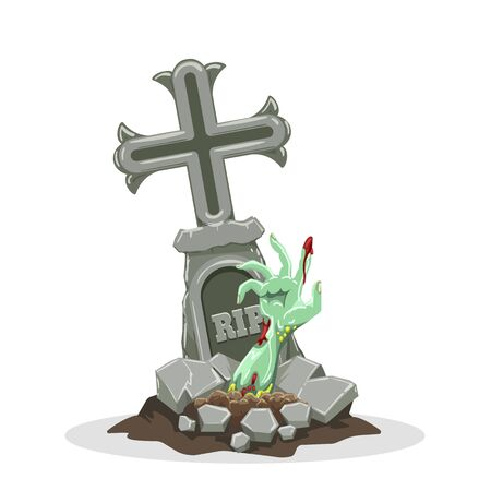 Zombie hand rises out of grave. Halloween gravestone scary and spooky vector image with zombies hands hand rising 일러스트