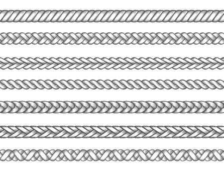Tresses tricotées. Illustration vectorielle de tresse textile de mode, motifs de tresses, lignes de fil tressé sans couture, illustration vectorielle de cordes à tricoter