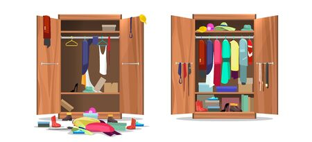 Wardrobe before and after organization. Woman clothings and shoes in mess and tidy organizing, opening dress closet with messy and organized clothes cartoon vector illustration Иллюстрация