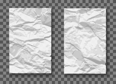 Crumpled paper mockups. Crumple texture sheets vector illustration, wrinkles papers patterns, blank damaged wall posters Vector Illustratie