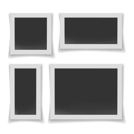 Album or walls photo frames. Paper photography old picture borders, blank realistic instant photos vector illustration, scrapbook empty photoborders templates Ilustración de vector