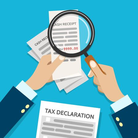 Income check for taxes. Tax inspector holding magnifying glass and check up business receipt vector illustration