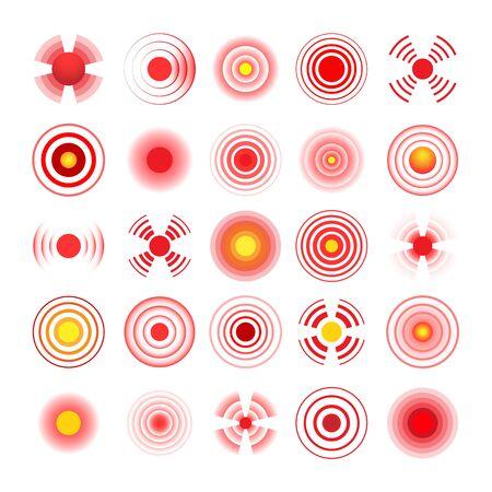 Hurt circles. Pain symbols vector illustration, painfulness markers for help information, body trauma syndrome red local design spots Vektoros illusztráció