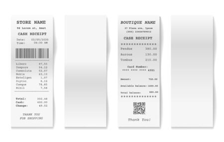 Blank shop receipts. Shopping receipt collection, paper supermarket cashier bills isolated on white background, printed billing drafts vector images