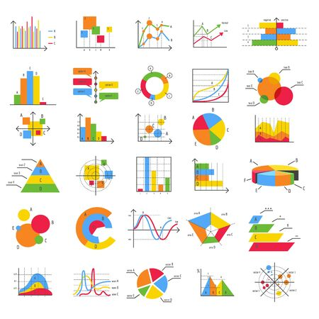 Finance business flat diagram chart graph vector icons. Bars, charts and diagrams graphics for data structure management and stats marketing, charting report graphical simple design