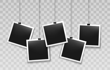 Hanging instant photo frames. Paper vintage photos on thin cord clips, string hang retro black photography pictures, vector illustration
