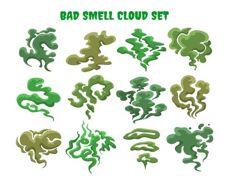 Green fumes. Bad smell clouds, expired aroma vector isolated illustrations, bad food cooking stench smoke or toxic odor