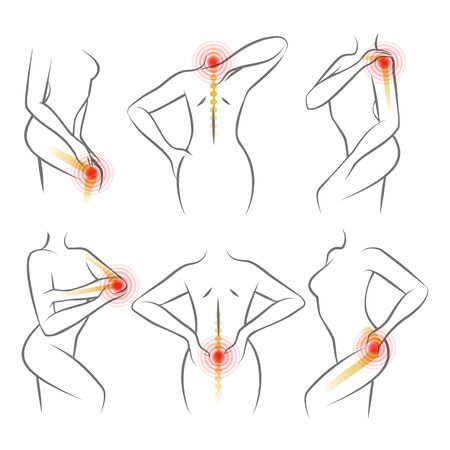 Body ache icons. Humans bodies injury pain signs and painful spots vector drawing medical illustrations