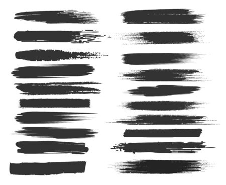 Smudge brushstrokes. Black paints texture brush strokes on white, monochrome ink painted textures stripes vector illustration